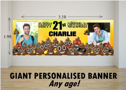 Personalised GIANT Large EMOJI POO Happy Birthday PHOTO Poster Banner N80 ANY AGE
